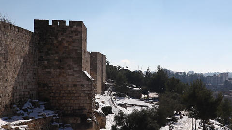 Snow on the wall of Jerusalem, Israel Footage