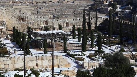Snow on the wall of Jerusalem, Israel Footage