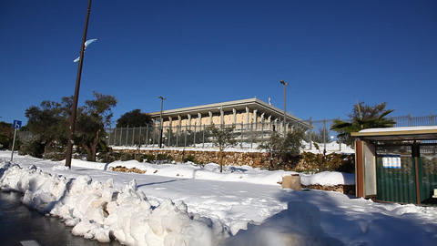 Snow In The Knesste - The Parliament, Jerusalem, I stock footage