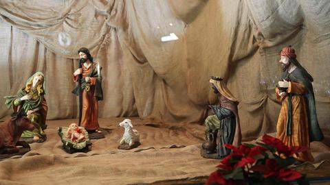 The birth of Jesus scene inside the Christmas tree Footage