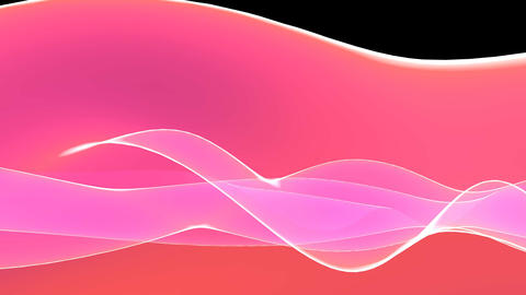 4k Abstract pink light curve,satin ribbon&soft silk veils,flowing digital wa Footage