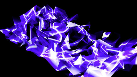 4k Abstract blue glass fragment curve&laser rays,flowing digital wave backgr Footage