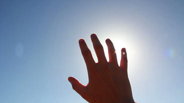 Sun Rays Through Fingers Palm stock footage