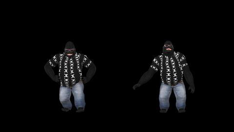 Dancing Gorillas - Duo - 1 - VJ Loop - Alpha Animation