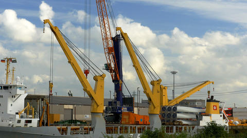 Crane In Harbor, Hamburg stock footage