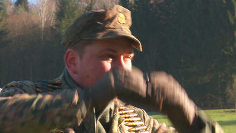 World War 2 German Soldier looking glasses and aim Stock Video Footage