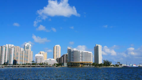 Brickell Island skyline in Miami Stock Video Footage
