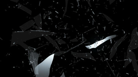 Broken and Shattered glass with slow motion. Alpha Stock Video Footage