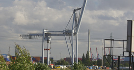 4K, Crane in harbor, hamburg Stock Video Footage