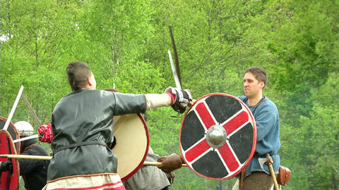 celtic warrior fight 03 Stock Video Footage
