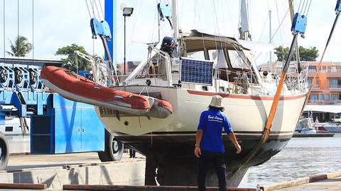 Boat maintenance Stock Video Footage