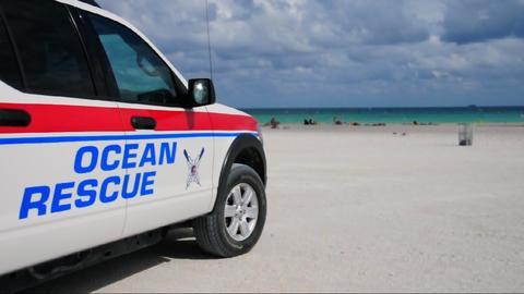 Ocean Rescue vehicle on Miami Beach Stock Video Footage