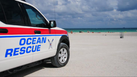 Ocean Rescue vehicle on Miami Beach Live Action