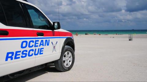 Ocean Rescue vehicle on Miami Beach Footage