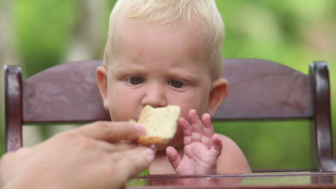 baby chews cucumber bread Stock Video Footage