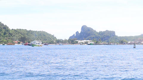 boat port ocean island Stock Video Footage