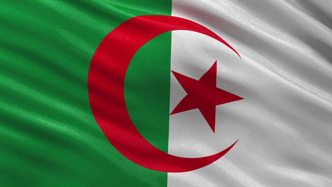 Flag of Algeria seamless loop Animation