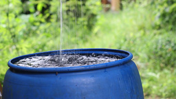 Rainwater harvesting to a blue barrel Footage