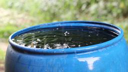Rain water fills blue water barrel durin a rain Stock Video Footage