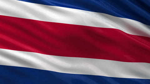 Flag of Costa Rica seamless loop Animation