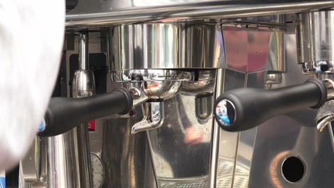 Making coffee in a coffee machine. 4K Stock Video Footage