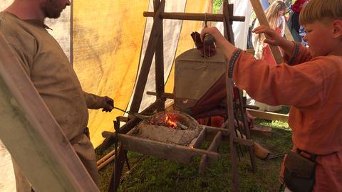 Smithy. Blacksmith's fur. 4K Stock Video Footage