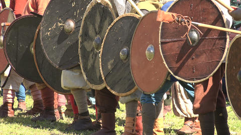 A battle. The fight of the Vikings. 4K Stock Video Footage