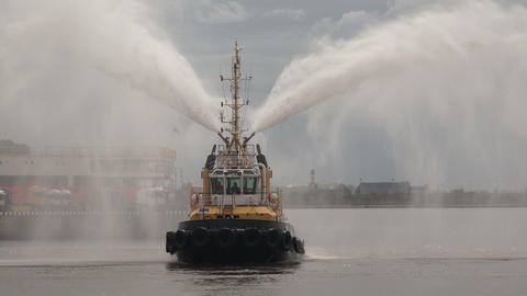 Fire boat. Hose. 4K Stock Video Footage