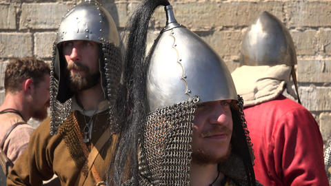 The camp of the Vikings. 4K Stock Video Footage