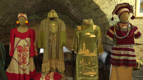 Russian national clothes. The middle ages. 4K Stock Video Footage