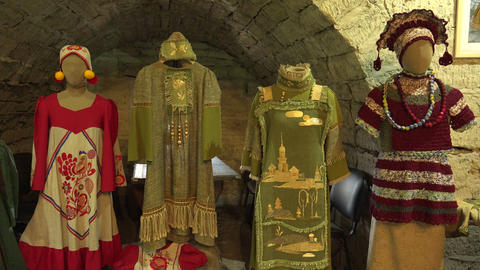 Russian national clothes. The middle ages. 4K Footage