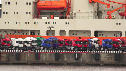 Trucks on the pier. Port. 4K Stock Video Footage