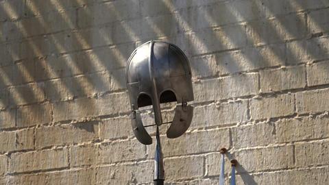 Viking helmet. Spear. 4K Stock Video Footage