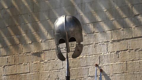 Viking helmet. Spear. 4K Live Action