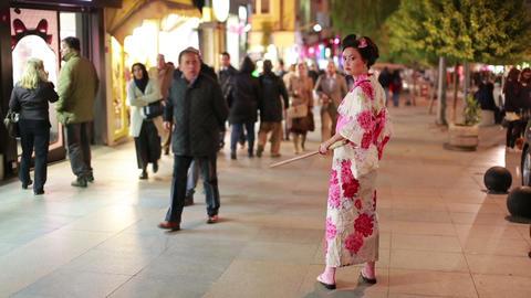Japanese geisha at street, People looking Stock Video Footage