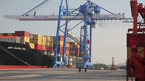 IZMIR, TURKEY - JANUARY 2013: Freight ship moored Stock Video Footage