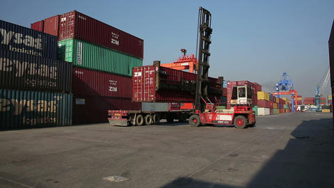 IZMIR, TURKEY - JANUARY 2013: Moving freight conta Footage