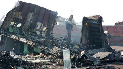 IZMIR, TURKEY - JANUARY 2013: Industrial scrapyard Stock Video Footage