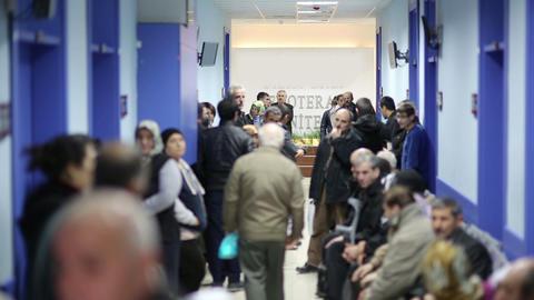 IZMIR, TURKEY - JANUARY 2013: People waiting in ho Stock Video Footage