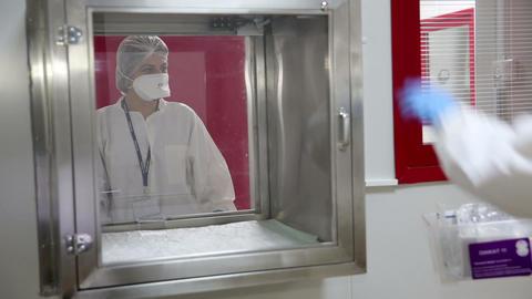IZMIR, TURKEY - JANUARY 2013: Handling of hazardou Stock Video Footage