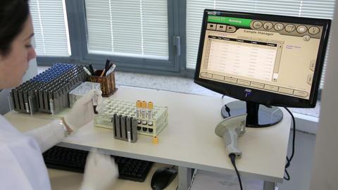 IZMIR, TURKEY - JANUARY 2013: Testing blood sample Stock Video Footage