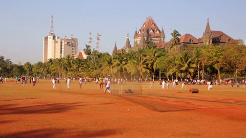MUMBAI, INDIA - MARCH 2013: People in park playing Stock Video Footage