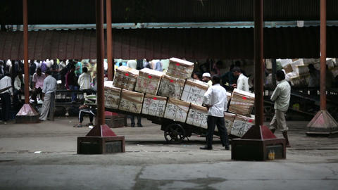 MUMBAI, INDIA - MARCH 2013: Goods ready for transp Stock Video Footage