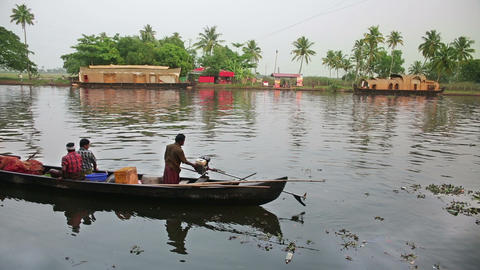 ALLEPPEY, INDIA - MARCH 2013: Local people travell Footage
