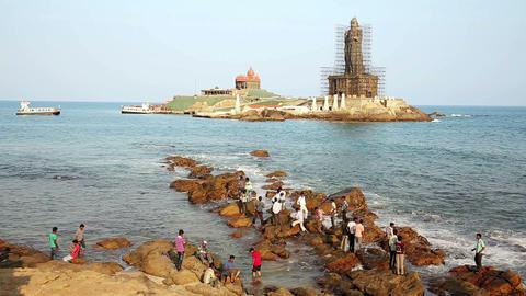 KANYAKUMARI, INDIA - MARCH 2013: Coastal scene wit Stock Video Footage