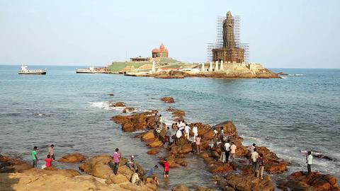 KANYAKUMARI, INDIA - MARCH 2013: Coastal scene wit Footage