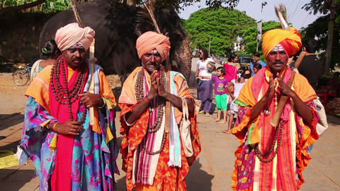 HAMPI, INDIA - APRIL 2013: Local men in traditiona Stock Video Footage
