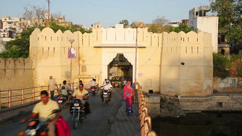 UDAIPUR, INDIA - APRIL, 2013: Everyday traffic on Stock Video Footage