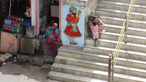 UDAIPUR, INDIA - APRIL, 2013: Everyday city scene Footage