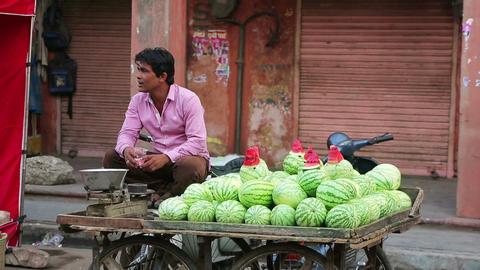 JAIPUR, INDIA - APRIL, 2013: Water melon vendor Stock Video Footage
